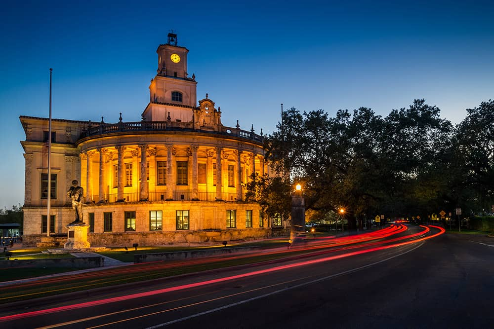 Night view of the Coral Gables City Hall in Miracle Mile